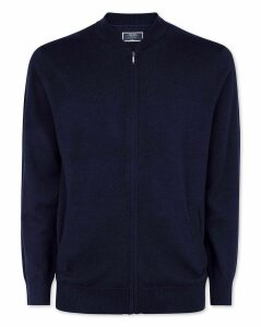 Wool Navy Merino Zip Through Bomber