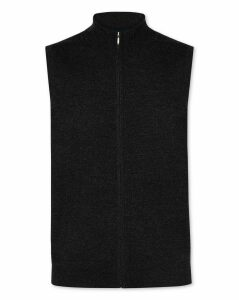 Wool Dark Charcoal Merino Zip Through Gilet