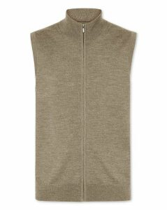 Wool Mocha Merino Zip Through Gilet