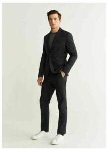 Slim fit technical fabric trousers