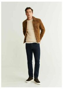 Elbow-patch brown suede jacket
