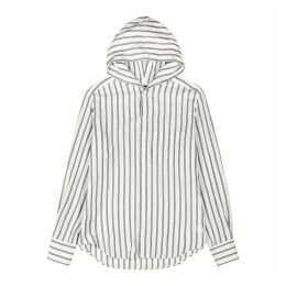 Loewe White Striped Hooded Shirt