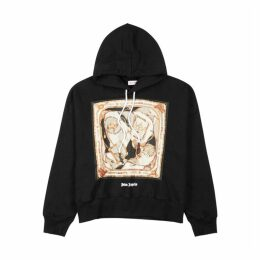 Palm Angels Black Hooded Cotton Sweatshirt