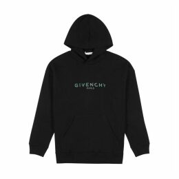 Givenchy Black Logo Hooded Cotton Sweatshirt