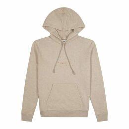 Saint Laurent Taupe Logo Hooded Cotton-blend Sweatshirt