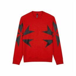 Neil Barrett Red Printed Jersey Sweatshirt