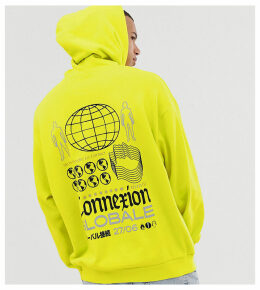 ASOS DESIGN Tall oversized hoodie in bright green with global back print