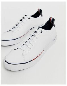 Tommy Hilfiger corporate rubberised leather trainers in white