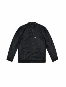 Mens Big & Tall Black Pu Racer Jacket, Black
