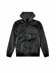 Mens Black Pu Bomber With Hooded Bomber Jacket, Black