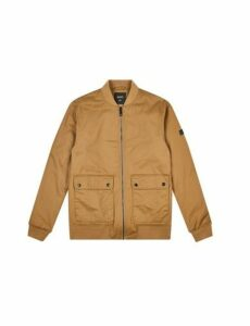 Mens Tan Wax Look Two Pocket Bomber Jacket, TAN