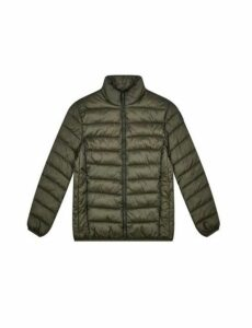 Mens Khaki Lightweight Funnel Neck Padded Jacket, Green