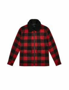 Mens Red Buffalo Check Borg Collared Faux Wool Bomber Jacket, RED