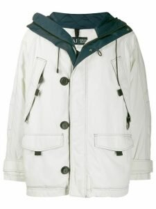 Giorgio Armani Pre-Owned 1990's multi-pockets hooded coat - White