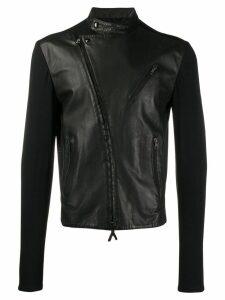 Giorgio Armani Pre-Owned 1990's contrast panels biker jacket - Black