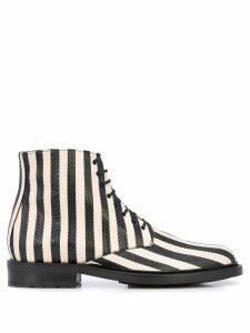 Saint Laurent striped ankle boots - Black