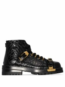 Versace buckled ankle boots - Black