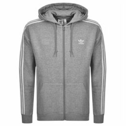 adidas Originals 3 Stripes Full Zip Hoodie Grey