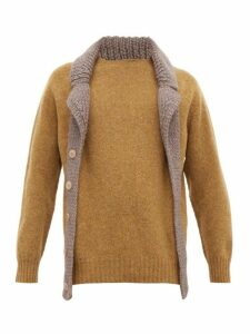 Bless - Scarf Lapel Wool Sweater - Mens - Green