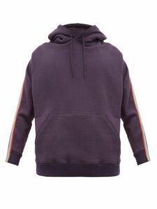 Bless - Zip Webbed Cotton Jersey Hooded Sweatshirt - Mens - Dark Blue