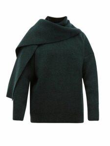 Jacquemus - Scarf Panelled Wool Blend Sweater - Mens - Dark Green
