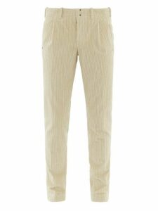 Incotex - Tapered Leg Cotton Blend Corduroy Trousers - Mens - Beige