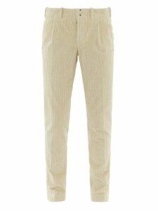 Incotex - Tapered Leg Cotton Blend Corduroy Trousers - Mens - Beige