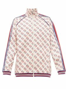Gucci - Gg Print Web Striped Jersey Track Top - Mens - White Multi