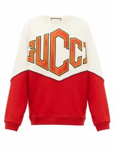 Gucci - Satin Logo Appliqué Cotton Sweatshirt - Mens - Multi