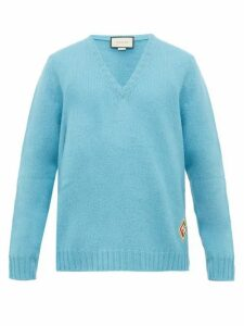 Gucci - Logo Patch V Neck Wool Sweater - Mens - Blue