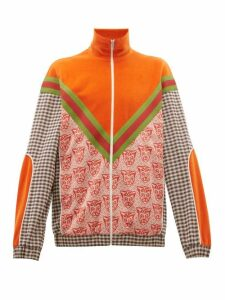 Gucci - Houndstooth Cat Print Cotton Blend Track Jacket - Mens - Orange Multi