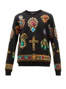 Versace - Jewel Print Cotton Jersey Sweatshirt - Mens - Black Multi