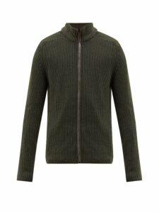 Iris Von Arnim - Penley Stonewashed Cashmere Zip Through Sweater - Mens - Green