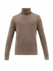 Iris Von Arnim - Stonewashed Ribbed Cashmere Roll Neck Sweater - Mens - Light Brown