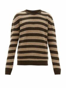 The Gigi - Jeremy Striped Wool Blend Sweater - Mens - Khaki Multi