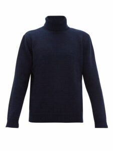 The Gigi - Julien Striped Roll Neck Wool Sweater - Mens - Navy
