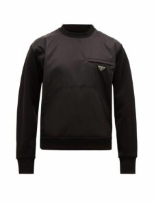 Prada - Nylon Panel Cotton Blend Jersey Sweatshirt - Mens - Black