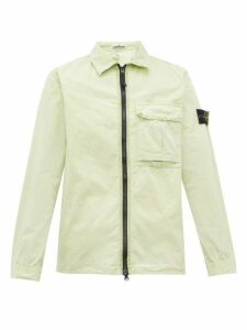 Stone Island - Logo Patch Zip Through Crinkle Cotton Jacket - Mens - Light Green