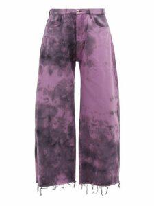 Marques'almeida - Tie Dyed Wide Leg Jeans - Mens - Purple