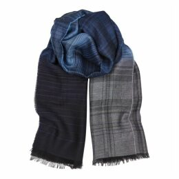 Paul Smith Blue Checked Wool-blend Scarf