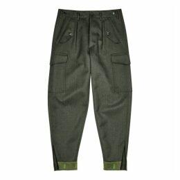 Loewe Dark Green Wool Cargo Trousers