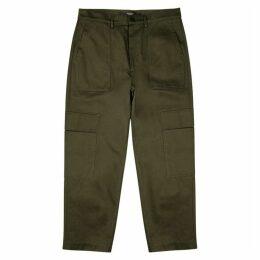 Valentino Dark Green Cotton-twill Cargo Trousers