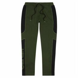 Kenzo Army Green Panelled Cotton Sweatpants