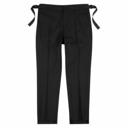 Solid Homme Black Slim-leg Stretch-wool Trousers