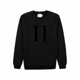 Les Deux Black Flocked-logo Cotton-blend Sweatshirt