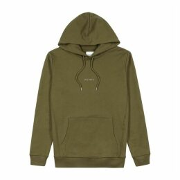 Les Deux Army Green Logo-printed Cotton Sweatshirt