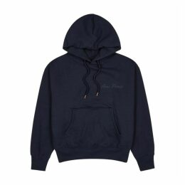 AMI Navy Hooded Cotton-blend Sweatshirt