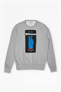 V Fcuk Graphic Sweatshirt - grey melange
