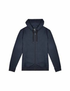 Mens Navy Zip Through Hoodie, Blue