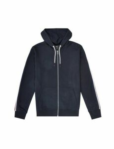 Mens Navy Side Striped Zip Through Hoodie, Blue
